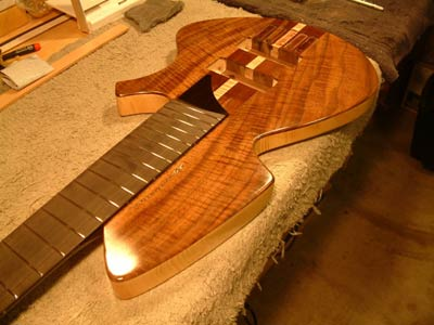 Curly Koa Top Solid Body Electric Bass Guitar