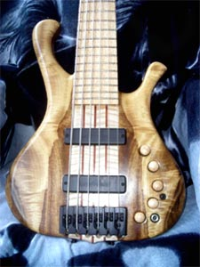 Myrtlewood & Maple Solid Body Electric Bass Guitar by Jesus Marcos