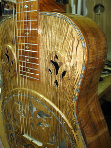 Tiger Striped Myrtlewood Resonator Acoustic Guitar by Benoit Guitars