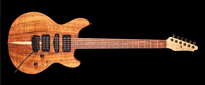 Curly Koa Solid Body Electric Guitar from Kapps Guitar