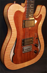 Curly Maple hollow body Tele Style Electric Guitar by Burns Guitars