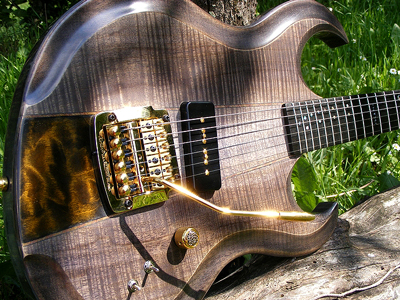 "Figured Myrtlewood Guitar ""Walkyrie"" by AMV Luthier, France Email"