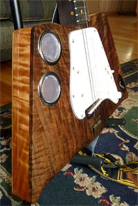 "Bastogne Walnut Cigar Box Guitar ""Black Bird"" by Don Mc Cann of SwampKing Guitars"