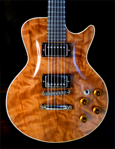 Curly Redwood Solid Body Electric Guitar by Tim Rocco tim.rocco@comcast.net USA
