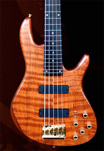 5 String Curly Redwood Bass Guitar by Eliezer Lara Custom Guitars