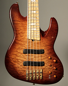 5 string HB5 Jazz Bass with quilted Maple top by CSR Guitars USA