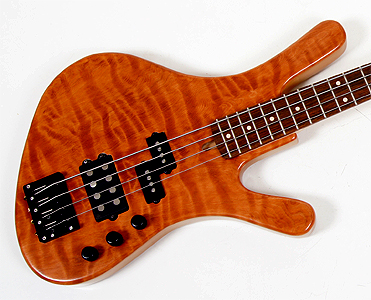 Curly Redwood 4 string bass by Artisan Bass Works www.artisanbassworks.com USA
