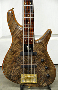 Claro Walnut Bass with crotch feather figure by Sugi Guitars www.sugiguitars.com  Japan