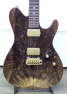 Solid body Claro Walnut Guitar with crotch feather figure by Sugi Guitars - Japan  www.sugiguitars.com