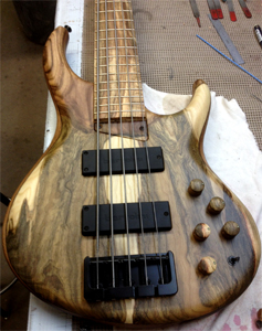Pistachio Top and Fingerboard and Walnut Back Bass by Michael Tobias Design www.mtdbass.com  USA