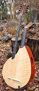 Double Neck Oud-Buzug with Curly Port Orford Cedar Top by Josh Humphrey  USA  oudandtabla@yahoo.com
