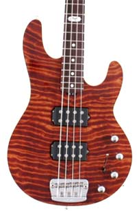 Curly Redwood Solid Body Electric Bass Guitar by Ernie Ball - Music Man Guitars