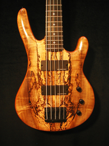 Spalted Myrtlewood 5 String Solid Body Electric Bass Guitar by Mike Delaney www.delaneyguitars.com