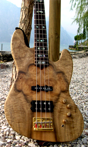 Figured Myrtlewood Solid Body Electric Bass Guitar by Michael Kaupp, Germany
