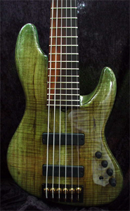 6 string Myrtlewood Solid Body Electric Bass Guitar by Brubaker Guitars
