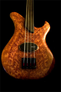 Burl Redwood Solid Body Electric Bass Guitar by David Nevin