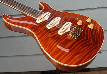 12 String Curly Redwood Carved Top Guitar by Giffin Guitars USA www.giffinguitars.com