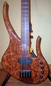 Figured and Burl Redwood Solid Body Bass Guitar by Les Argoff  www.myspace.com/catblackband  USA