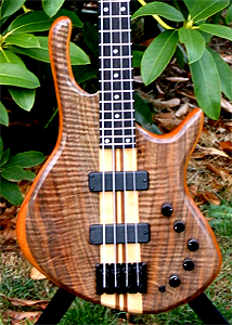 Bastogne Walnut Top 4 String Bass Guitar by Emmett Casey - USA ecasey88@gmail.com