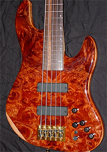 5 String Redwood Solid Body Electric Bass Guitar by Stambaugh Designs, USA