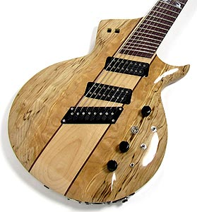 Spalted Figured Maple top on 8 string extended range guitar by Equilibrium Guitars  USA   www.eqguitars.com