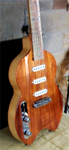 Lefty Cicada with Koa Top and Pistachio Fingerboard by Rock Beach Guitars USA