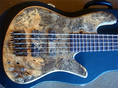 5 String Bass with Grafted Franquette/Claro Walnut top by Pablo Smiljanic of SJ Guitars www.SjGuitarBass.com Brazil
