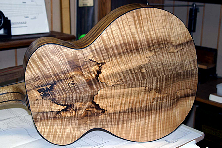 Spalted figured Myrtlewood (back, sides & neck) with Port Orford Cedar top dreadnought guitar by Joseph Seibel popseib@aol.com USA