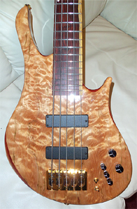 5 string Quilted Maple Bass by  Carl S Basses cc_da_bassman@hotmail.com USA