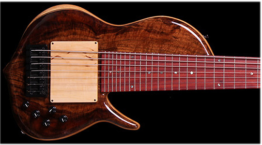 7 string Claro Walnut Bass by  Barcus Basses barcusbasses.com USA
