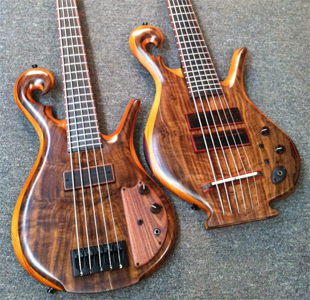 Spectacular Claro Walnut Basses by Carl Thompson USA www.ctbasses.com