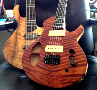 Curly Redwood Baritone and 7 string Myrtle by Alex Myla