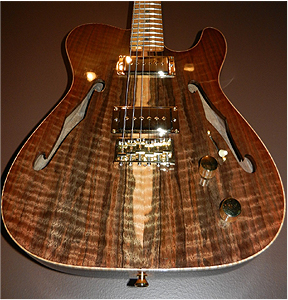 Claro Walnut twin f hole thinline by  Johnny Nielsen  thepond@me.com  Canada