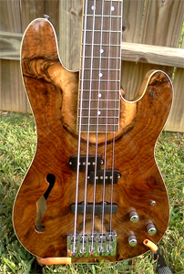 Claro Walnut 5 string Bass by Lance Summey, USA llsummey@earthlink.net