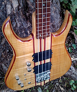 Maple 4 string Bass Guitar by Mark Warner, USA www.heretic-cg.us