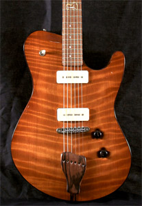Curly Redwood solid body guitar by Born Guitars