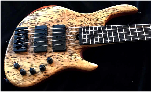 5 string Tiger Myrtlewood Bass by AC Guitars www.acguitars.co.uk UK