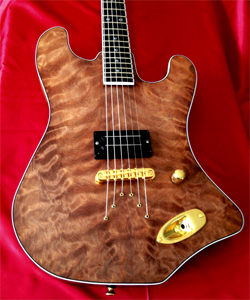 Curly Redwood solid body guitar by Jerry Swanson