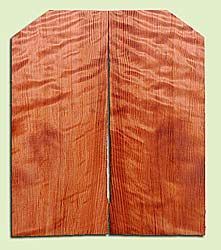 """RWES13407 - Redwood, Solid Body Guitar Fat Drop Top Set, Med. to Fine Grain Salvaged Old Growth, Very Good Color& Curl, Highly ResonantGuitar Wood, Visually Stunning , 2 panels each 0.375"""" x 8.25"""" X 19.75"""", S1S"""