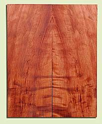"RWES14493 - Curly Redwood, Solid Body Guitar Les Paul Thickness Top Set, Very Fine Grain Salvaged Old Growth, Excellent Color & Good Curl, Highly Resonant Guitar Tonewood, Visually Stunning, 2 panels each 0.625"" x 7.8"" X 20.2"", S1S"