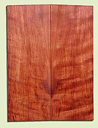 "RWES14499 - Curly Redwood, Solid Body Guitar or Bass Top Set, Les Paul Thickness, Very Fine Grain Salvaged Old Growth, Excellent Color & Good Curl, Highly Resonant Guitar Tonewood, Visually Stunning, 2 panels each 0.625"" x 7.75"" X 21.2"", S1S"