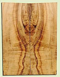 """MYES18132 - Myrtlewood, Solid Body Guitar Fat Drop Top Set, Salvaged Old Growth, Very Good Color and Figure Pattern, Bark Inclusion, SuperiorGuitar Wood, 2 panels each 0.32"""" x 7.62"""" x 20.25"""", S2S"""